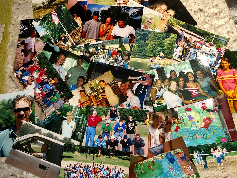 collage of photos of campers and groups